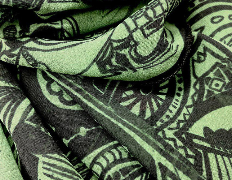 Ellie Shakiba - Green scarf polyester-02