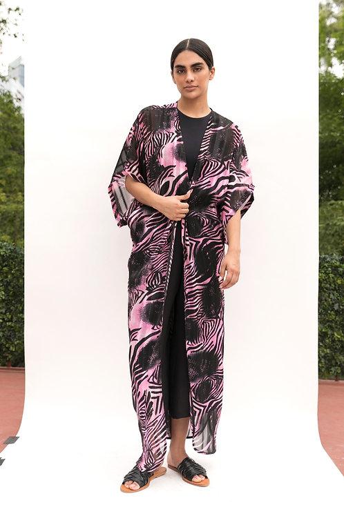 Kimo Dress Estampado Rosa Negro