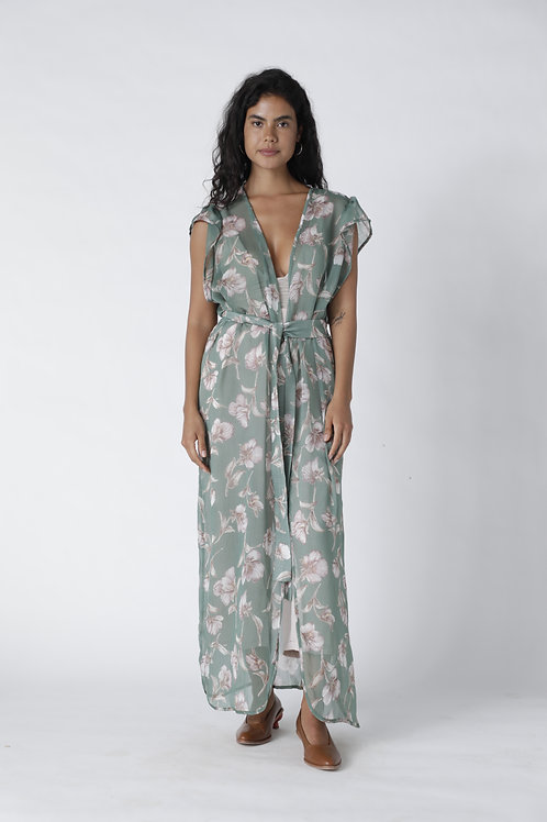 Kimo Dress Sin Mangas Flores Verde