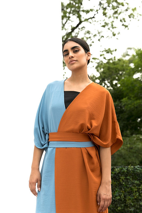 Kimo Dress Duo Celeste Naranja