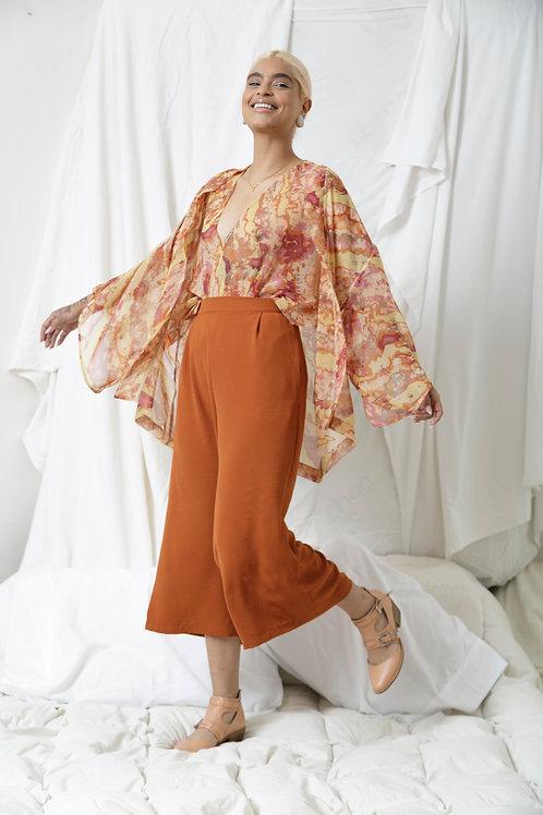 Conjunto Yukata, Mariposa y Pants Nougat Shedron