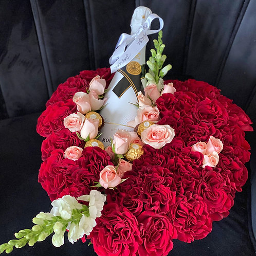 Heart  Moet Floral Box