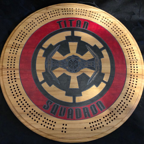 Titan Squadron Cribbage Board - Cherry