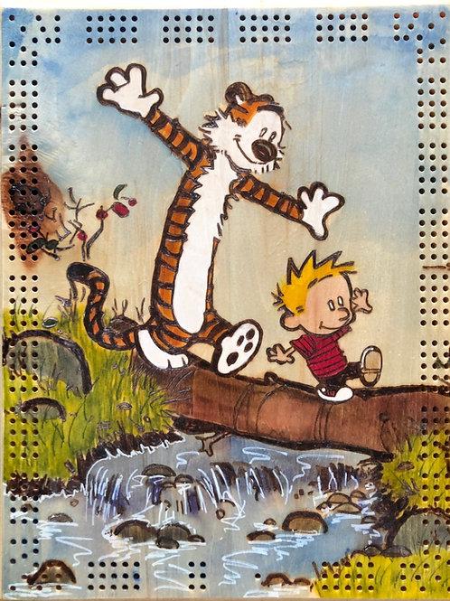 Calvin and Hobbes Log Walk Cribbage Board