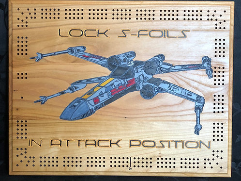 "Star Wars X-Wing ""Lock S-foils"" Cribbage board"