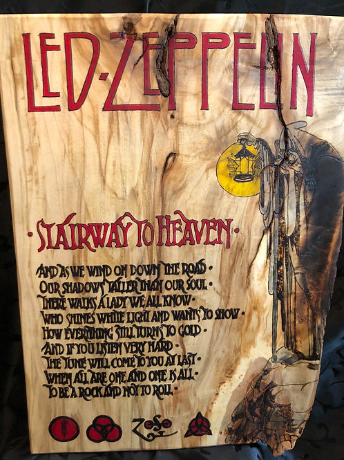 Led Zeppelin Stairway to Heaven Live edge burn