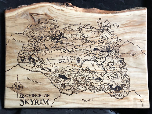 Skyrim hand burned live edge Map