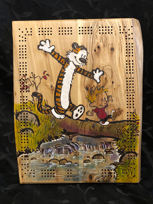 Calvin and Hobbes Live Edge Cribbage Board