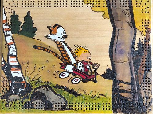 Calvin and Hobbes Wagon Ride Cribbage Board
