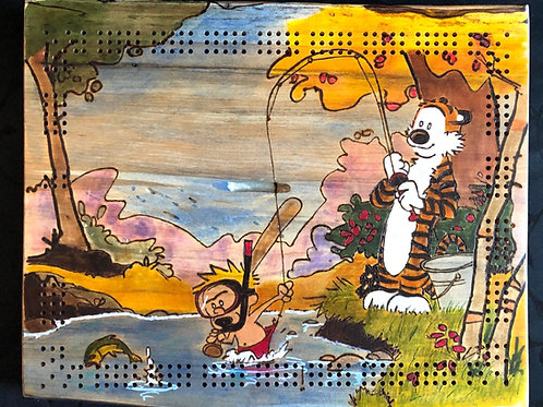Calvin and Hobbes Going fishing live edge  Cribbage Board