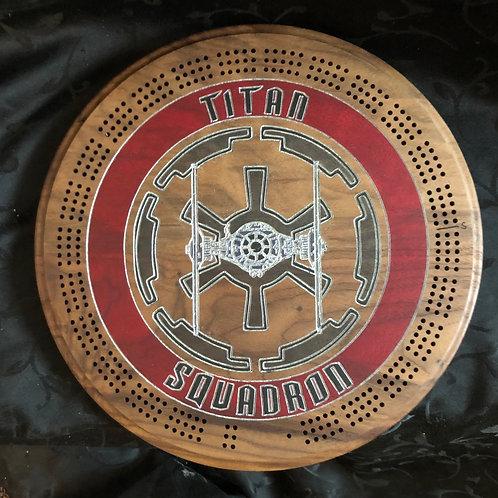 Titan Squadron Cribbage Board - Walnut