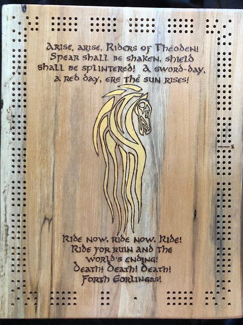 Live Edge Rectangular Cribbage Board - Theoden's speech