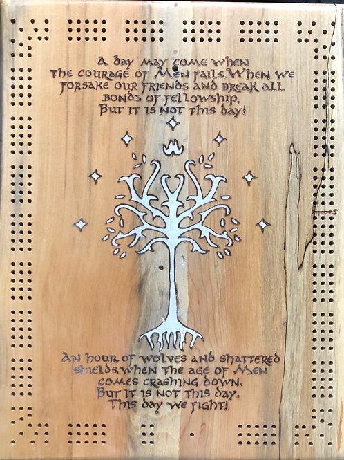 Live Edge Rectangular Cribbage Board - Aragorn's speech