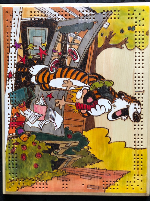 """Calvin and Hobbes """"Welcome Home"""" Rectangular Cribbage Board"""