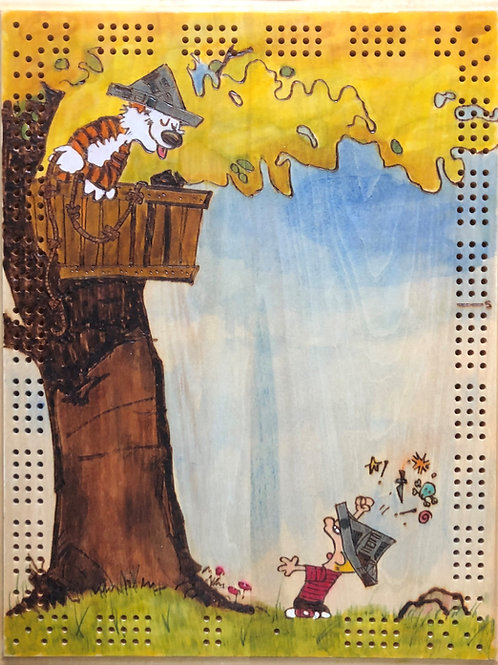 Calvin and Hobbes Treehouse Cribbage Board