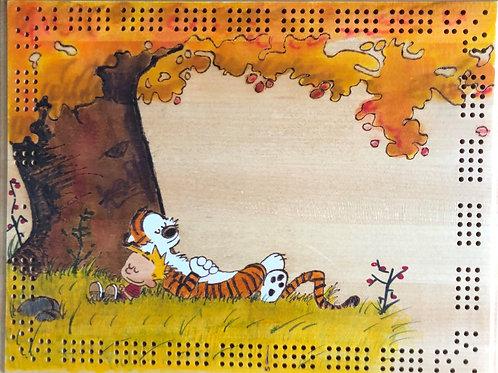 Calvin and Hobbes Lazy Sunday Cribbage Board