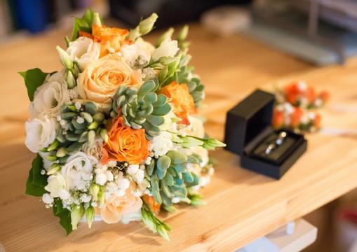Bouquet Mariée orangé