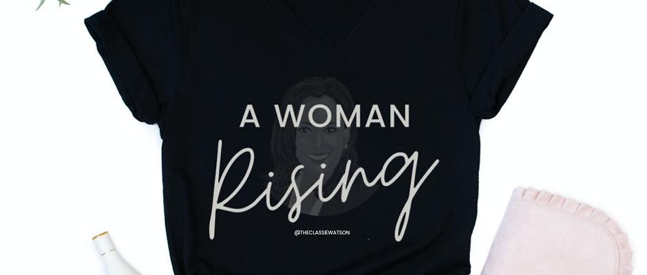 """Kamala Silhouette - A Woman Rising"" Women's V-Neck T-Shirt"