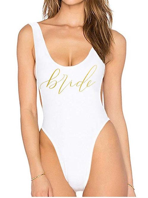 """White Scoop Back """"bride"""" Swim suit"""