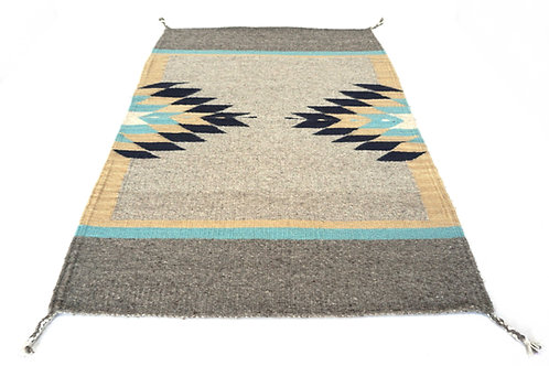 Twin Stars, hand woven Oaxacan wool accent rug. 3' x 2'