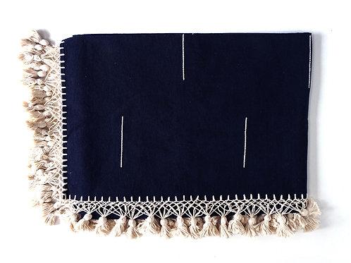 Indigo, hand woven cotton blanket with tassels, Queen Size