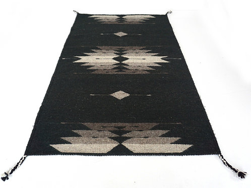 Star Light, Black hand woven Oaxacan wool accent Rug. 3' x 2'