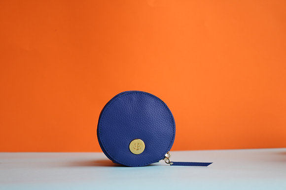 Round Coin Case- Electric Blue