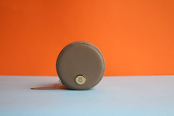 Round Coin Case- Taupe