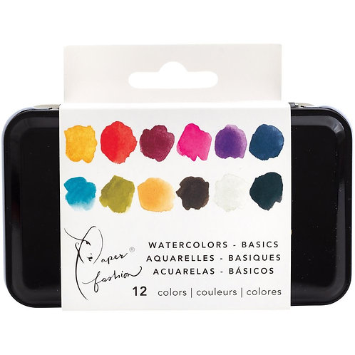 Paper Fashion Basic Watercolors Paint Set 12/Pkg by Paper Fashion