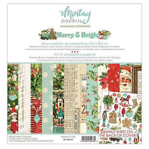 """Merry & Bright 12 x 12 Pack """"Mintay"""""""
