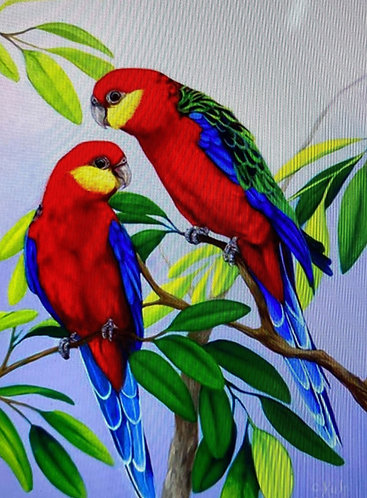 RED PARROTS GEM ART KIT 30 X 40