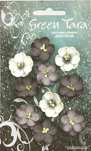 GREEN TARA CHERRY BLOSSOMS BLACK/WHITE