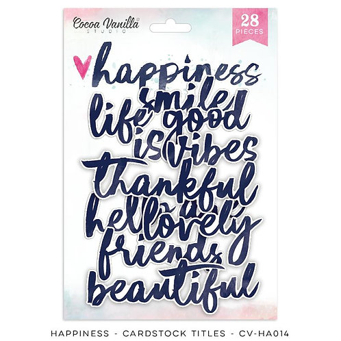 Die Cut Titles Happiness Cocoa Vanilla