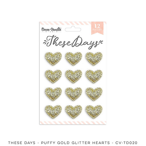 THESE DAYS Gold Glitter Puffy Hearts