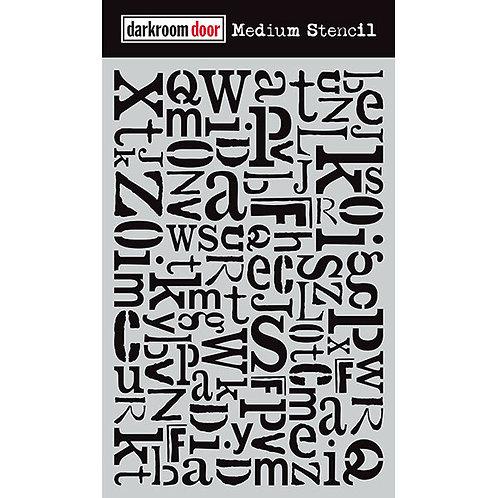 Alphabet Jumble Stencil Darkroom Door
