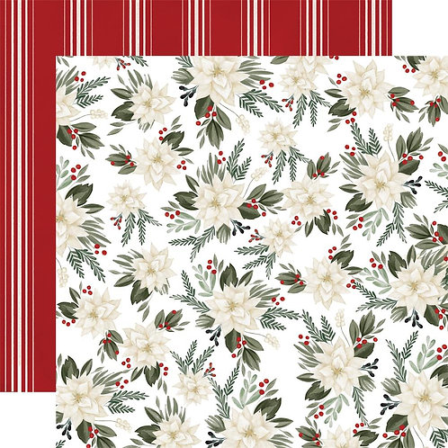 Poinsettia Floral 12 x 12 Farmhouse Christmas