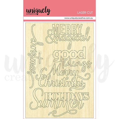 MERRY & MAGICAL wooden laser cuts
