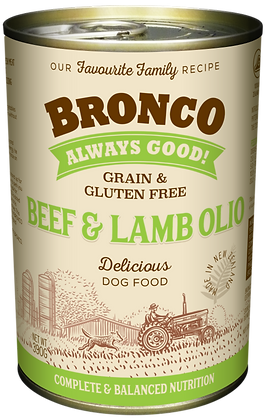 Bronco Beef & Lamb Olio Dog Wet Food 390g (12 cans)