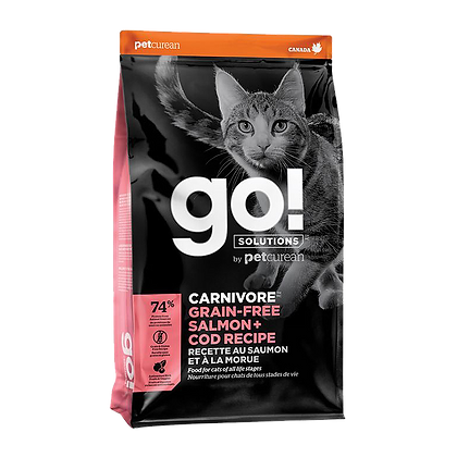 Go! Solutions Carnivore (Grain-Free Salmon, Cod) Dry Cat Food - 3lb