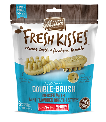 Merrick Fresh Kisses Double-Brush, Infused with Mint-Flavored Breath Strips