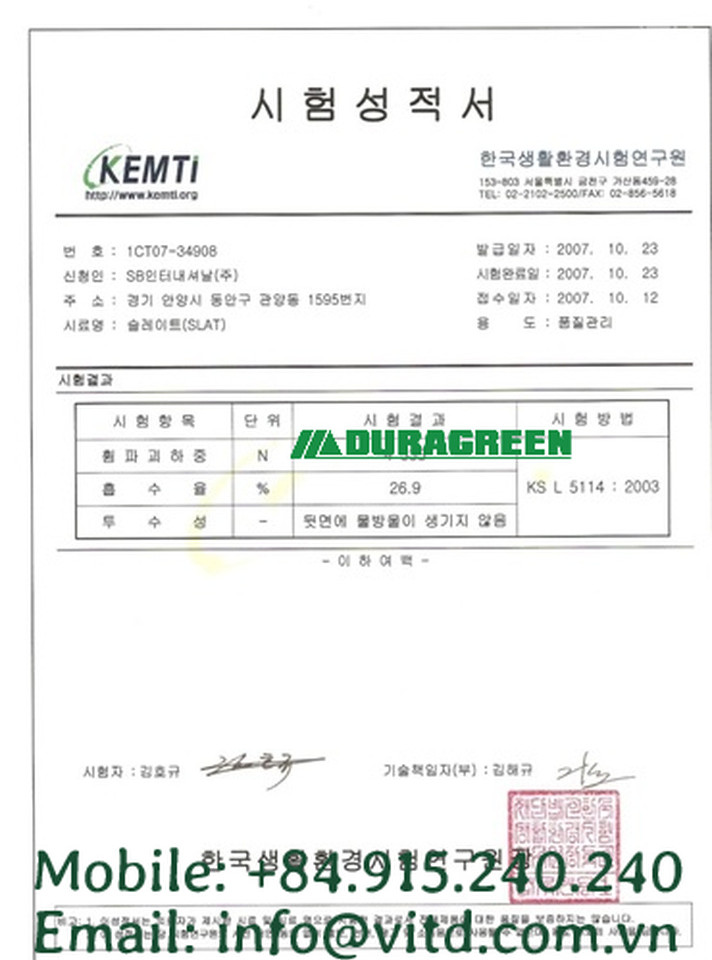 KEMTI non asbestos sheet certification.j