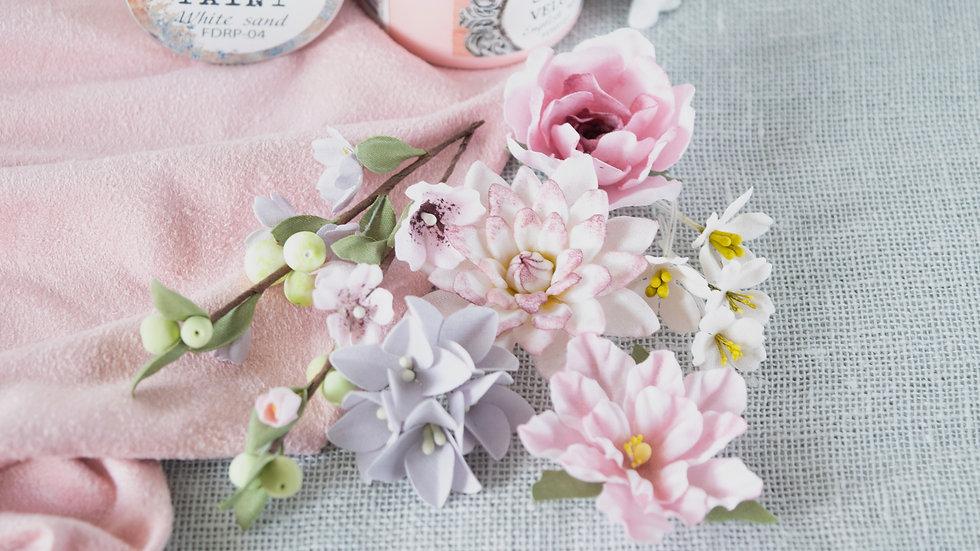 "Set of flowers ""Flower Blues"" pink"