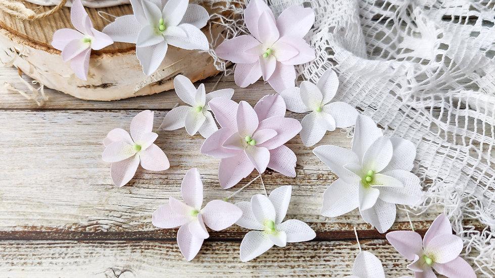 "Set of flowers ""Hydrangeas"" white-pink"