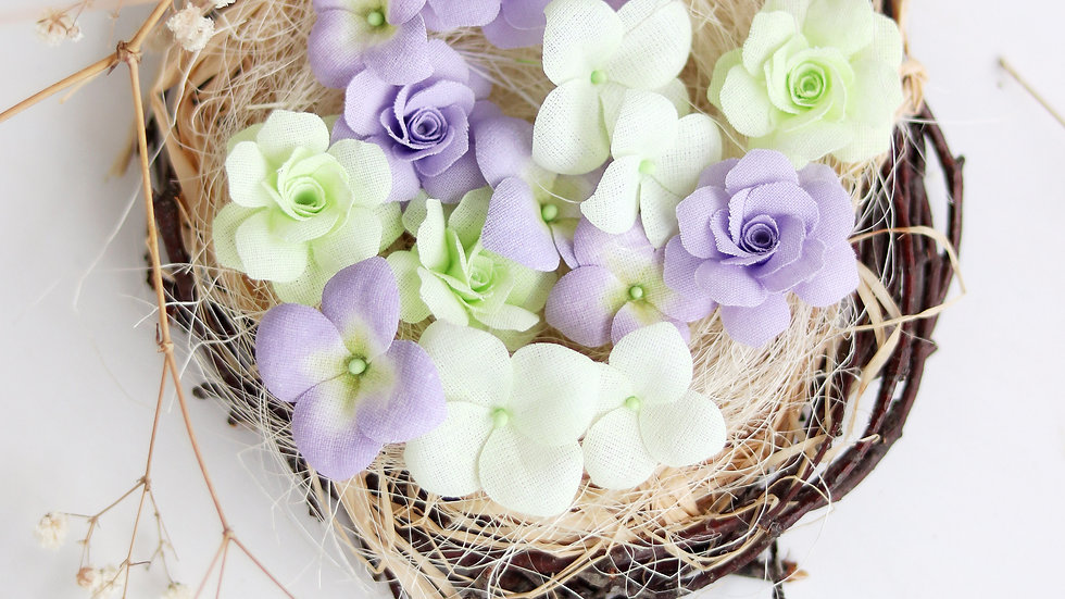 """Set of flowers """"Hydrangeas and roses"""" lilac"""