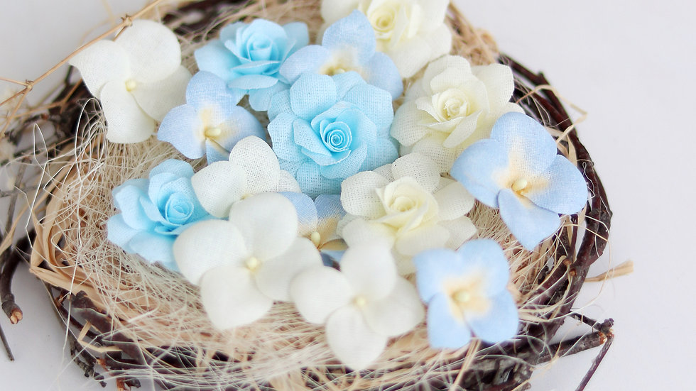 """Set of flowers """"Hydrangeas and roses"""" blue"""