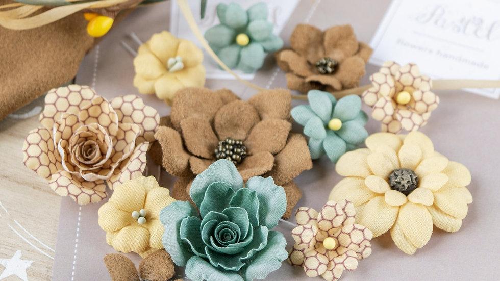"""Set of flowers """"Velvet Autumn"""" turquoise"""