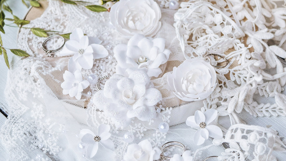 "Set of flowers ""DIAMOND"" white"