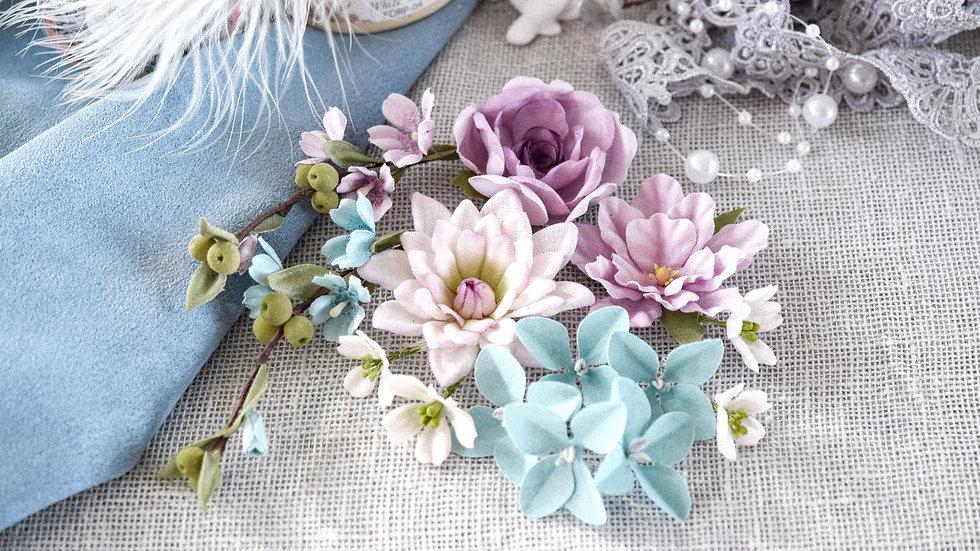 """Set of flowers""""Flower Blues"""" violet"""