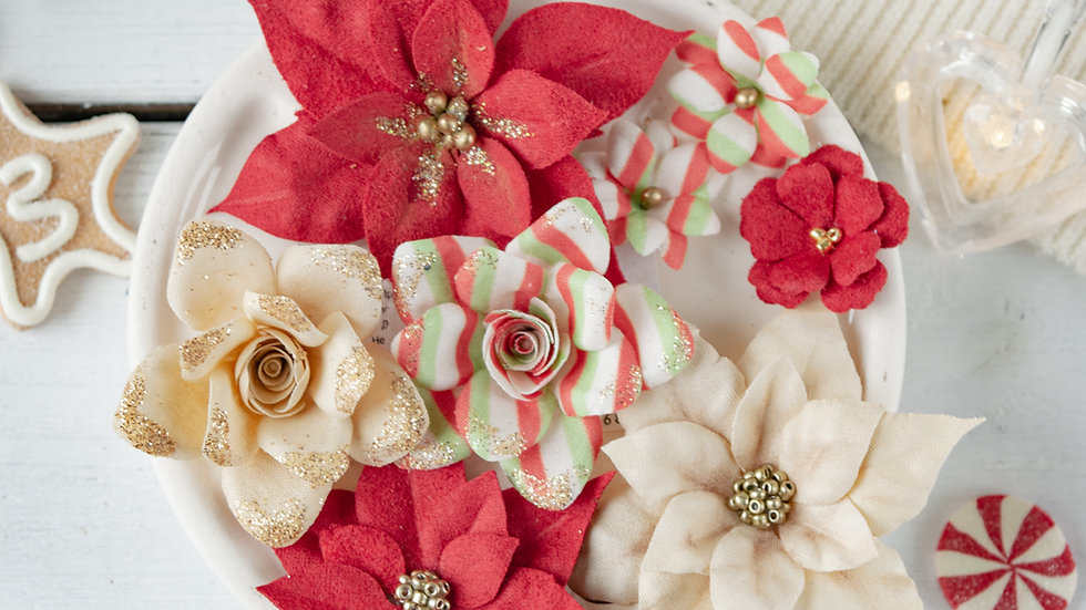 """Set of flowers """"Fairytale Winter"""" red, roses"""