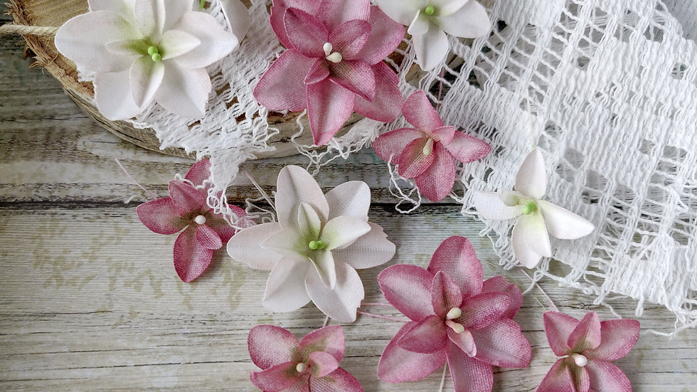 "Set of flowers ""Hydrangeas"" pink-burgundy"